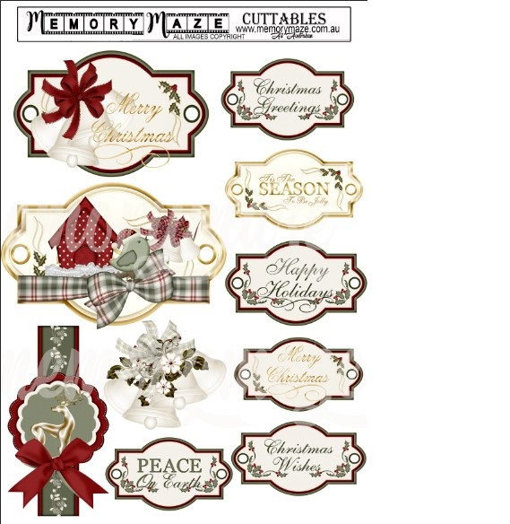 Vintage christmas tags. A4. Ideal for your Christmas cards . Min